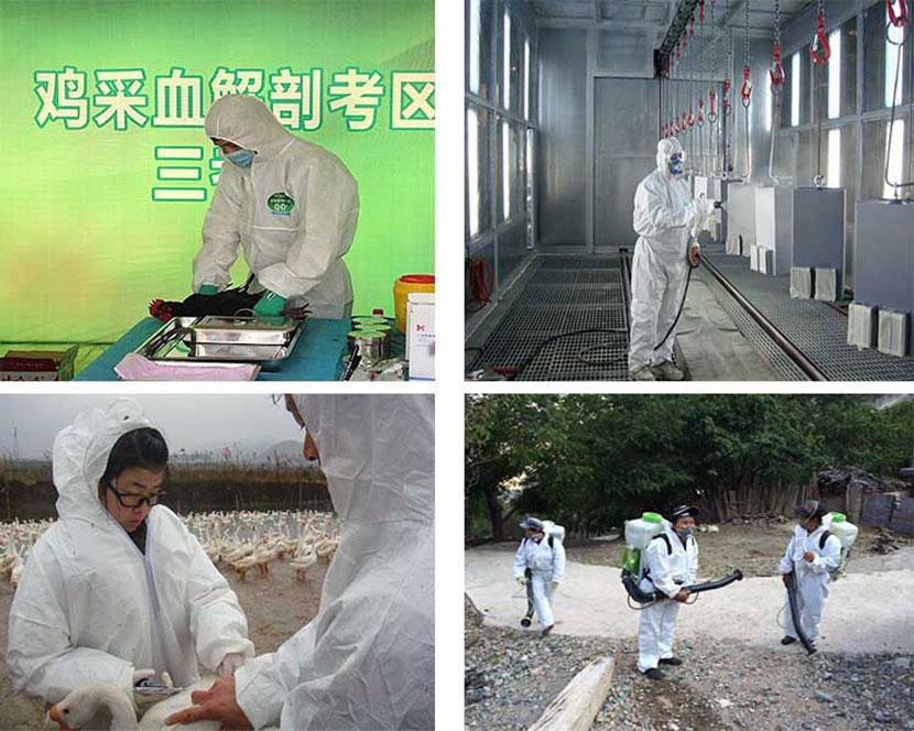 Vestuário protetor descartável impermeável coverall industrial epidêmico