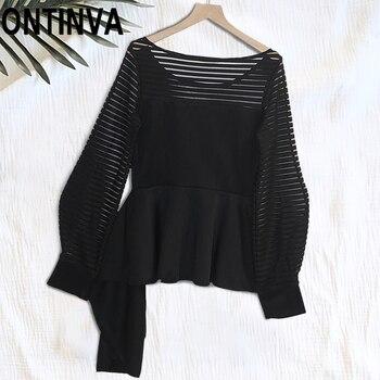 Black Gothic Transparent Latern Sleeve Peplum Tops Blouse Irregular Pleated Ruffles Trim Round Neck Sexy Retro Blusas Shirts Top цена 2017