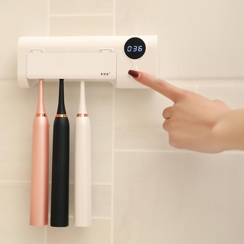 2020 New Anti-bacteria Toothbrush UV Sterilizer 2 In 1 UV Light Toothbrush Holder Bacteria Killing Toothbrush Cleaning Machine
