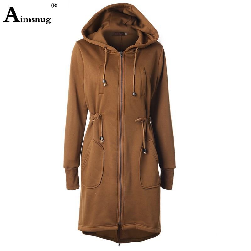 2019 Autumn Winter Women Wool Coat Hoodies Zipper Long Sleeved Solid Drawstring Slim Long Coats Female Windbreaker Long Jacket