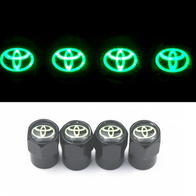 New Luminous 4PCS Car Wheel Tire Valve Caps For Toyota Corolla Chr Auris Rav4 Yaris Avensis Car Sticker Car Styling Accessories