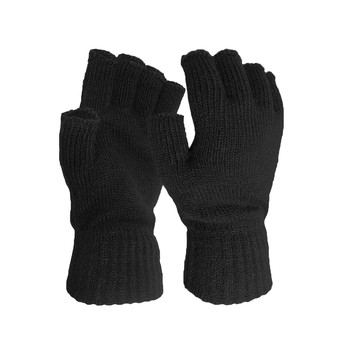 Winter Keep Warm Wool Gloves Knitted Flip Fingerless Thin Knitted Gloves For Men Women Exposed Finger Mittens Touch Screen Glove image
