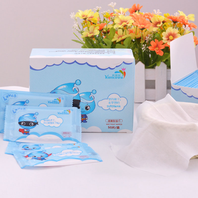 50 Piece Wet Wipes For Newborn Baby Hand Mouth Wet Wipes For Baby Portable Wet Tissue Disposable Non-woven Wet Wipes