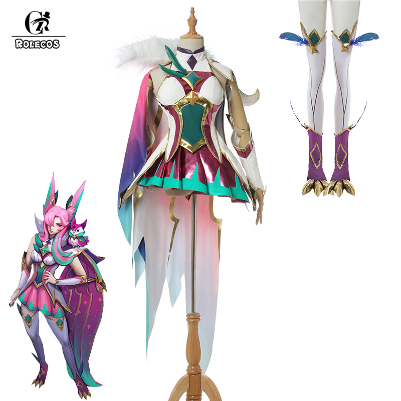ROLECOS Game LOL Xayah Cosplay Costume LOL Star Guardian Light Xayah Cosplay Costume Women Sexy Dress Shoes Cover Cloak Party