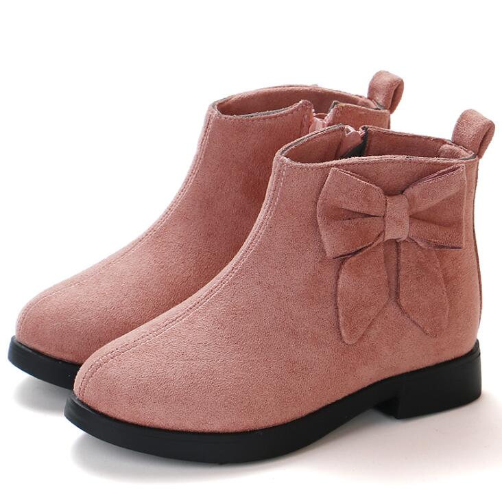 2019 Girls Martin Boots Leather Sport Shoes For Girls Children Warm Boots Fashion Soft Bottom Princess Snow Boots Kids Sneakers