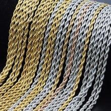 Quatro cores trançado corda corrente colares hip hop rapper 3mm aço inoxidável corrente gargantilha minimalista colar jóias para homem
