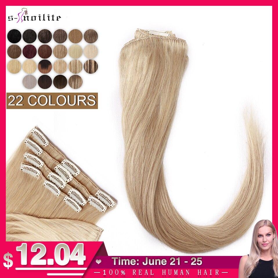 S-noilite 50-80 г натуральные волосы для наращивания, человеческие волосы, тонкие прямые волосы, 10-24 дюйма, 8 шт./компл., зажим на всю голову, натураль...