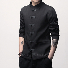 Man Chinese Style Tang Suit Solid Retro Oriental Traditional Tai Chi Uniform Buckle Plus Size Male China Jacket Coat M-5XL
