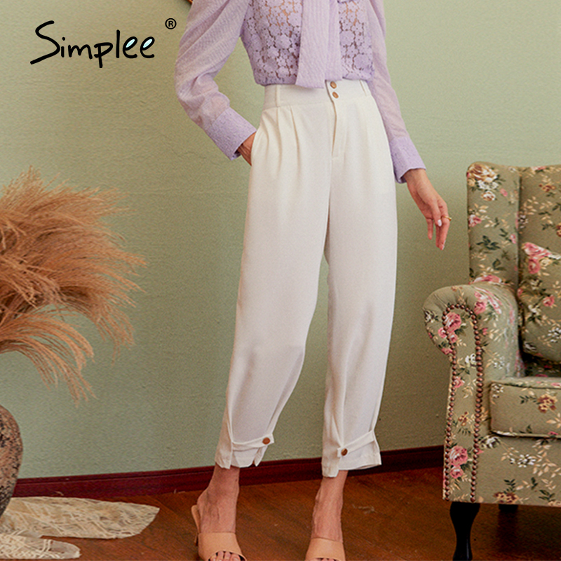 Simplee Women solid white casual pants 2020 autumn vintage work pants capris female casual office ladies British style trousers