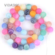 Natural Matte Frost Cracked Multicolor Agates Onyx Round Stone Beads For Jewelry Making 4mm-12mm Loose Diy Bracelet 15