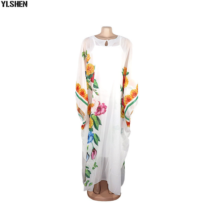 White African Dresses For Women Dashiki Print African Clothes Bazin Chiffon Boubou Robe Africaine Femme 2019 New Africa Dress