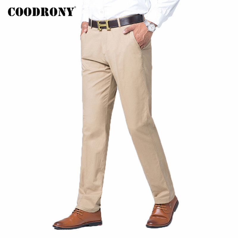 COODRONY Brand Mens Pants Spring Autumn Business Casual Straight Trousers High Quality 100% Pure Cotton Pant Men Plus Size C9004