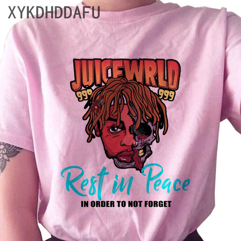 Hc071692a79ad49608fe4c1607d62c09dL - Juice Wrld T Shirt Women R.I.P Hip Hop Rapper Streetwear Tshirt Print Clothing Female Casual Ulzzang Graphic T-shirt Top Tees