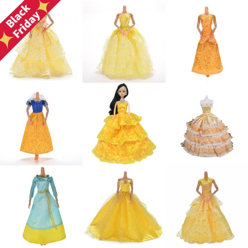 Yellow Wedding Dress Princess Evening Party Ball Long Gown Skirt Bridal Veil Costume Clothes For  Doll Accessories Toy