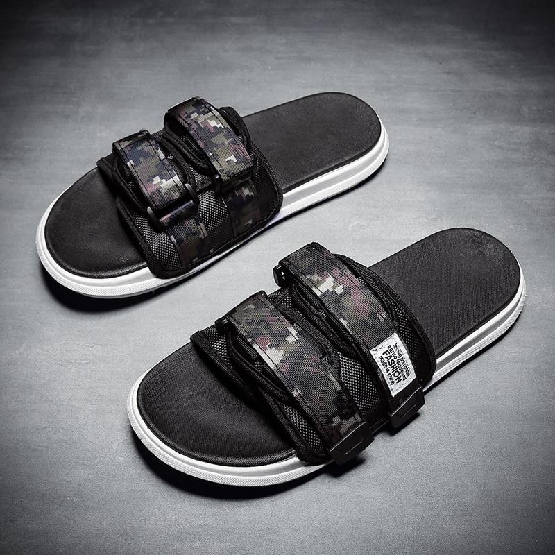 Summer Men's Slippers Velcro Strap Men