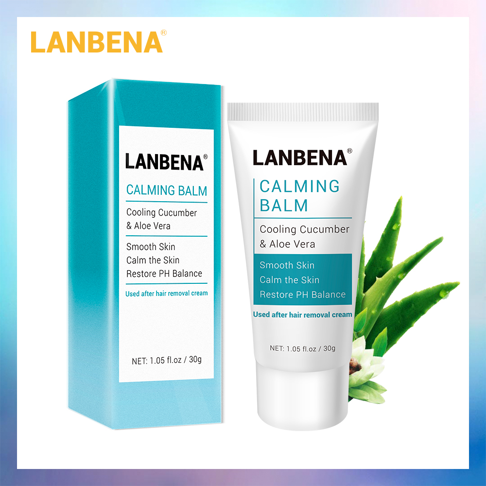 LANBENA Hair Removal Calming Balm Cream Natural Aloe Vera Extract Deep Moisturizing Smoothing Skin Care After Depilation 30g
