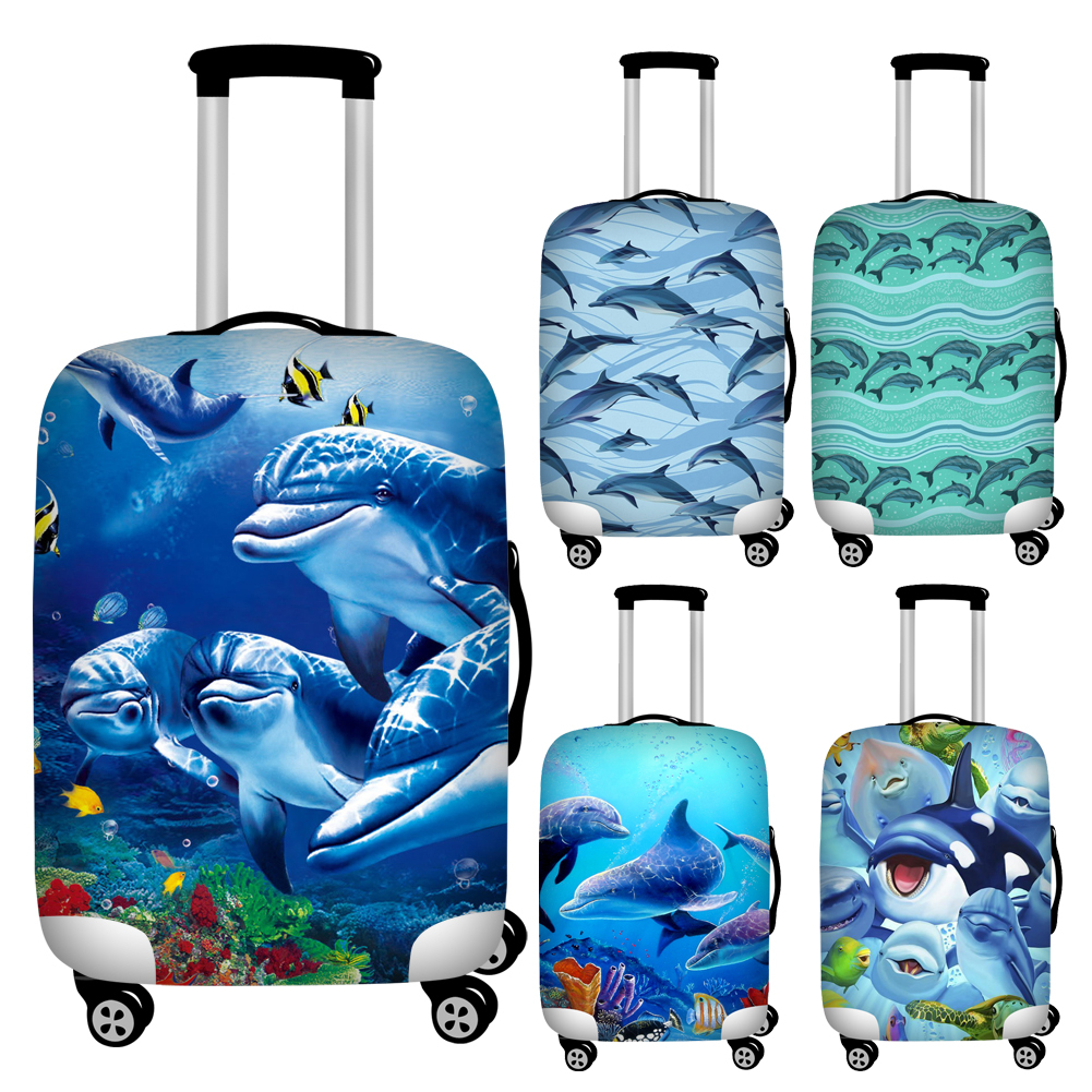 Twoheartsgirl Ocean Style Dolphin Print Luggage Protective Dust Covers Elastic 18-32inch Travel Suitcase Cover Baggage Covers