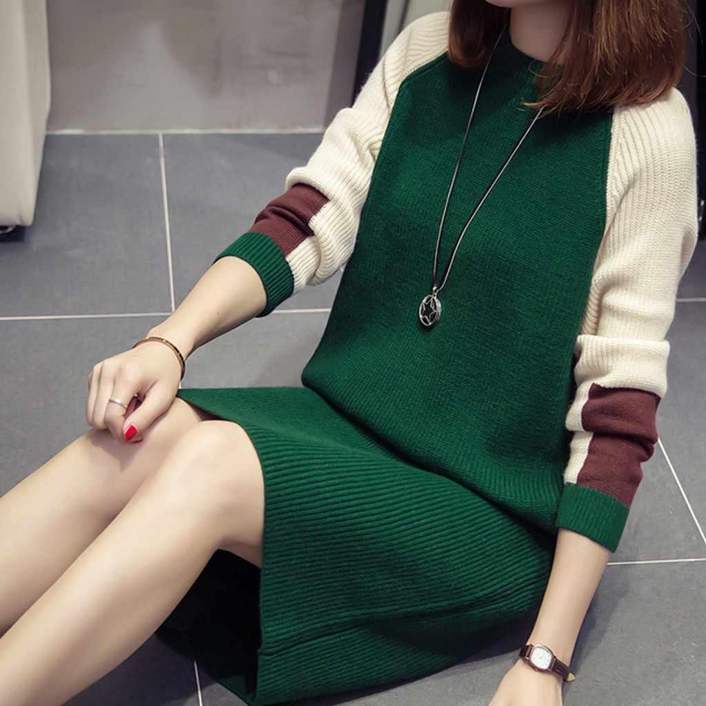 Kobiety jesienno-zimowa sukienka moda koreański luźna sukienka z dzianiny z długim rękawem sukienki swetrowe z długimi rękawami sukienka colorblock