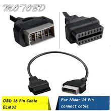 Para nisan 14 pinos para 16pin cabo obd ii diagnóstico interface 14pin para obd2 16 pinos adaptador funciona para veículos automóveis