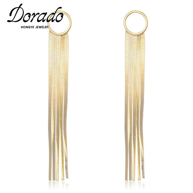 Dorado Long Tassel Circle Drop Earring for Women Retro New Alloy Pendant Earrings Fashion Jewelry boucle d'oreille femme 2020