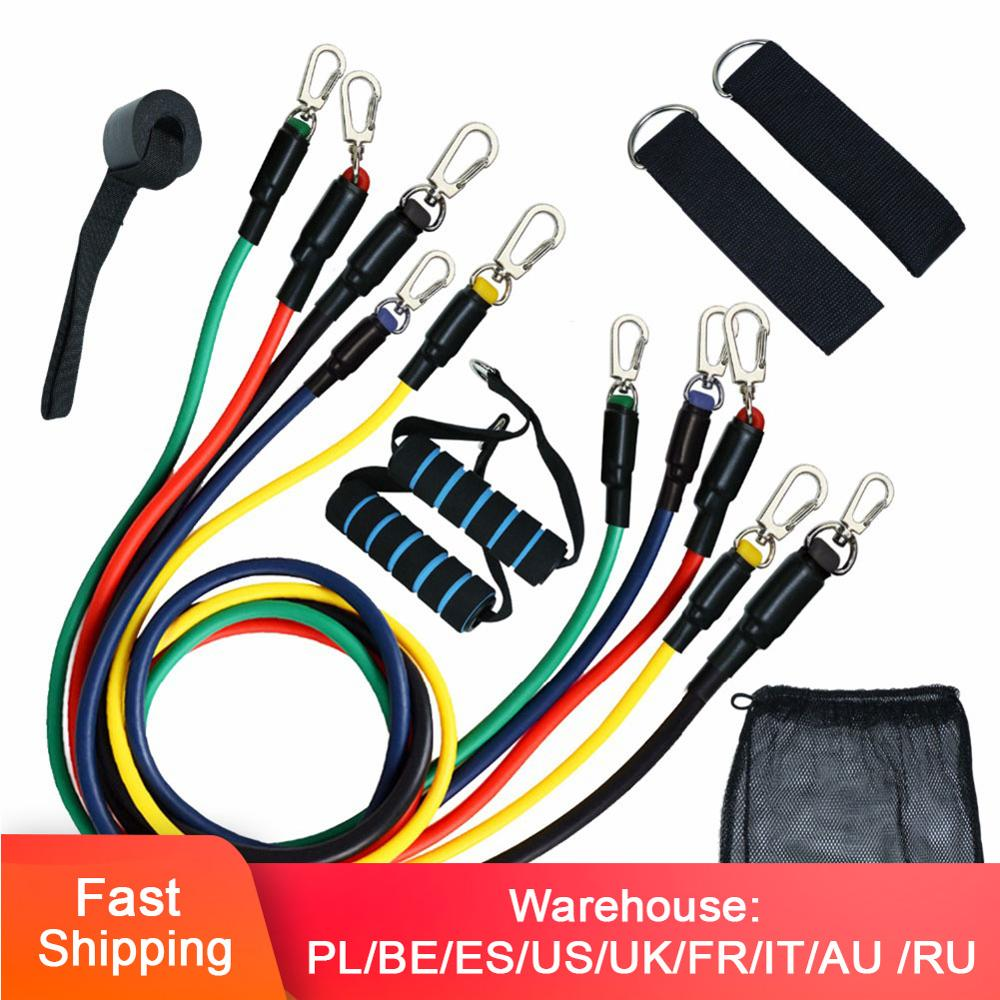 Resistance Bands Set (11pcs)  Pull Rope Fitness Elastic Rubber Band Fitness Workout Equipment Yoga Latex Tubes Pedal Excercise