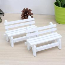Micro Landscape Creative bench Miniature white Chair Mini Lovely Bench Garden Ornaments Bonsai Decoration