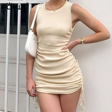 FQLWL Lace Upผ้าพันแผลฤดูร้อนมินิชุดสตรีSundressจีบRuched BodyconสุภาพสตรีWrapเซ็กซี่สีดำชุดถัก