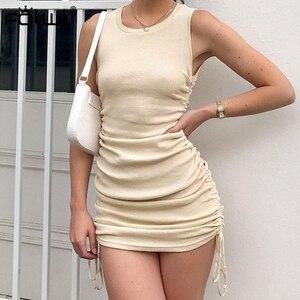 Image 1 - FQLWL zasznurować bandaż lato Mini sukienka kobiety Sundress plisowana Ruched Bodycon sukienka panie Wrap czarny Sexy Party sukienki z dzianiny