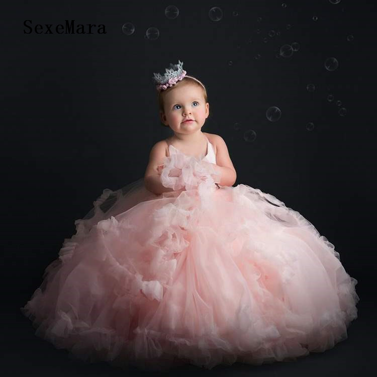 Baby Infant Toddler Pageant Gown Little Girl Birthday Dress Pink Layered Tulle Cloud Top Girl Party Dress