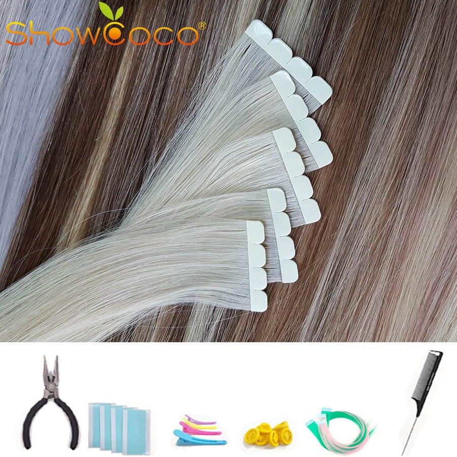 ShowCoco, невидимая лента для наращивания, натуральная Реми лента для наращивания человеческих волос, протеин, От 2 до 3 лет One донор, лента для ку...