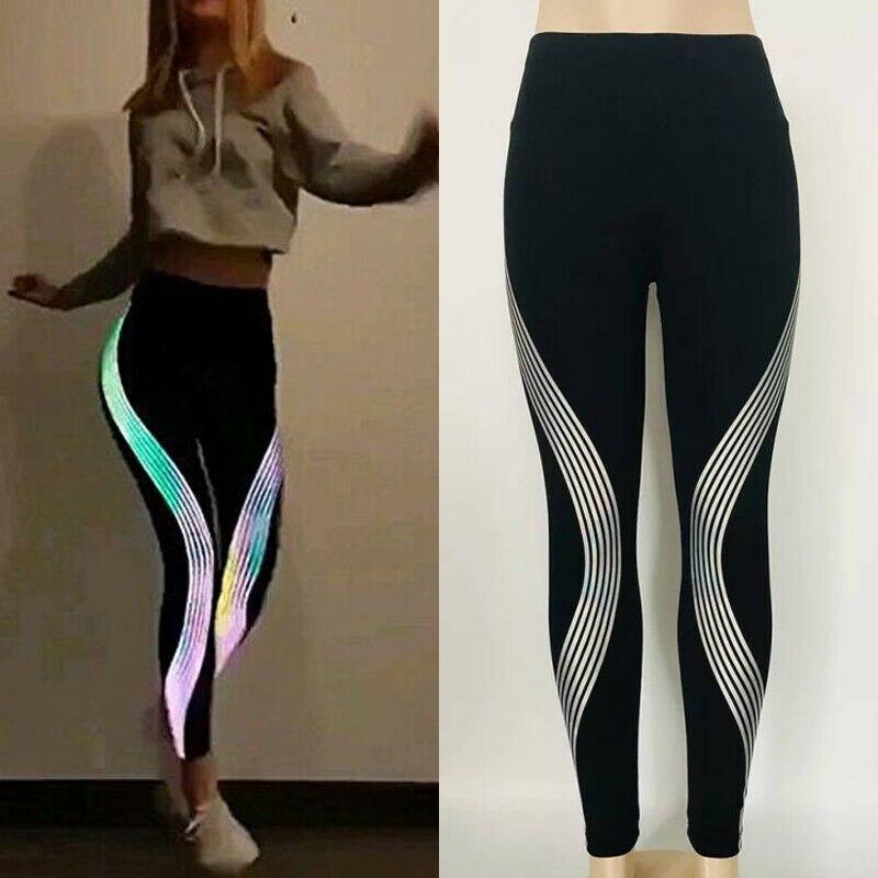 Celana Legging Panjang Wanita Model Sport Stretch Glow In The Dark Untuk Yoga Fitness Gym Pants Capris Aliexpress