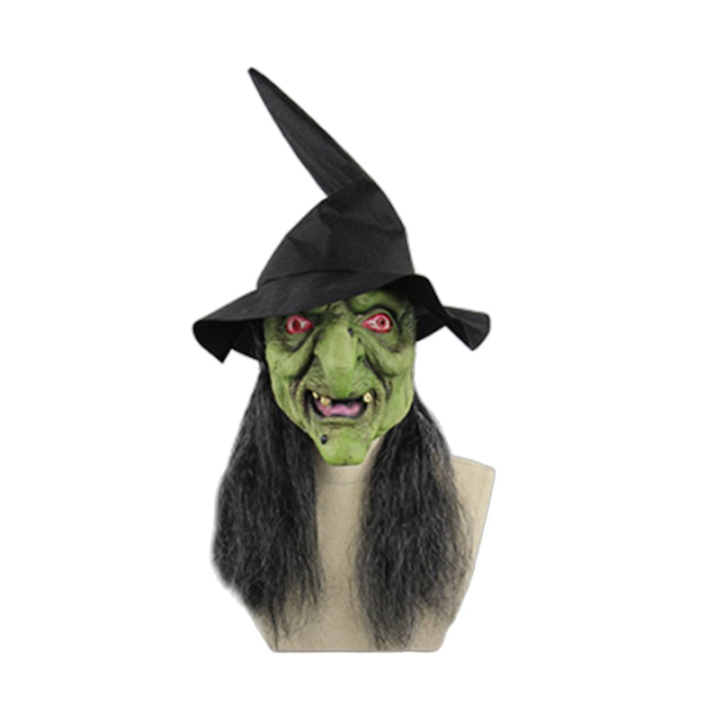 Halloween Long Hair Face Mask Horror Witch Face Scary Latex Headband Hat Dance Party Performance Props