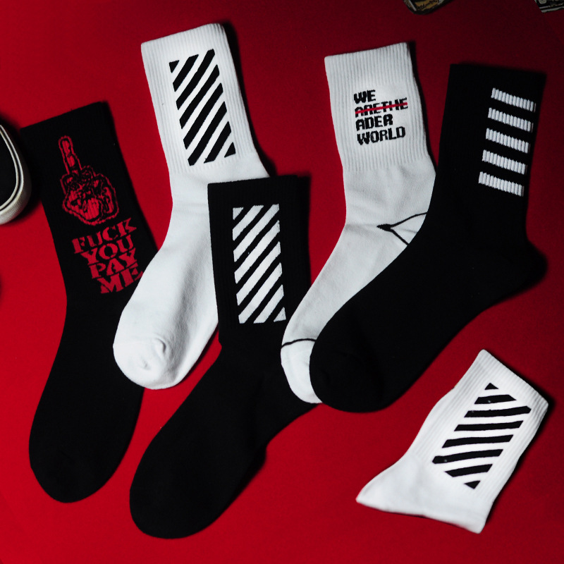 Adult Mid Calf Short Crew Cotton Socks Middle Long Medius Fnger Zebra Crossing Stripe Stripes Arrow We World Street Fashion Wear