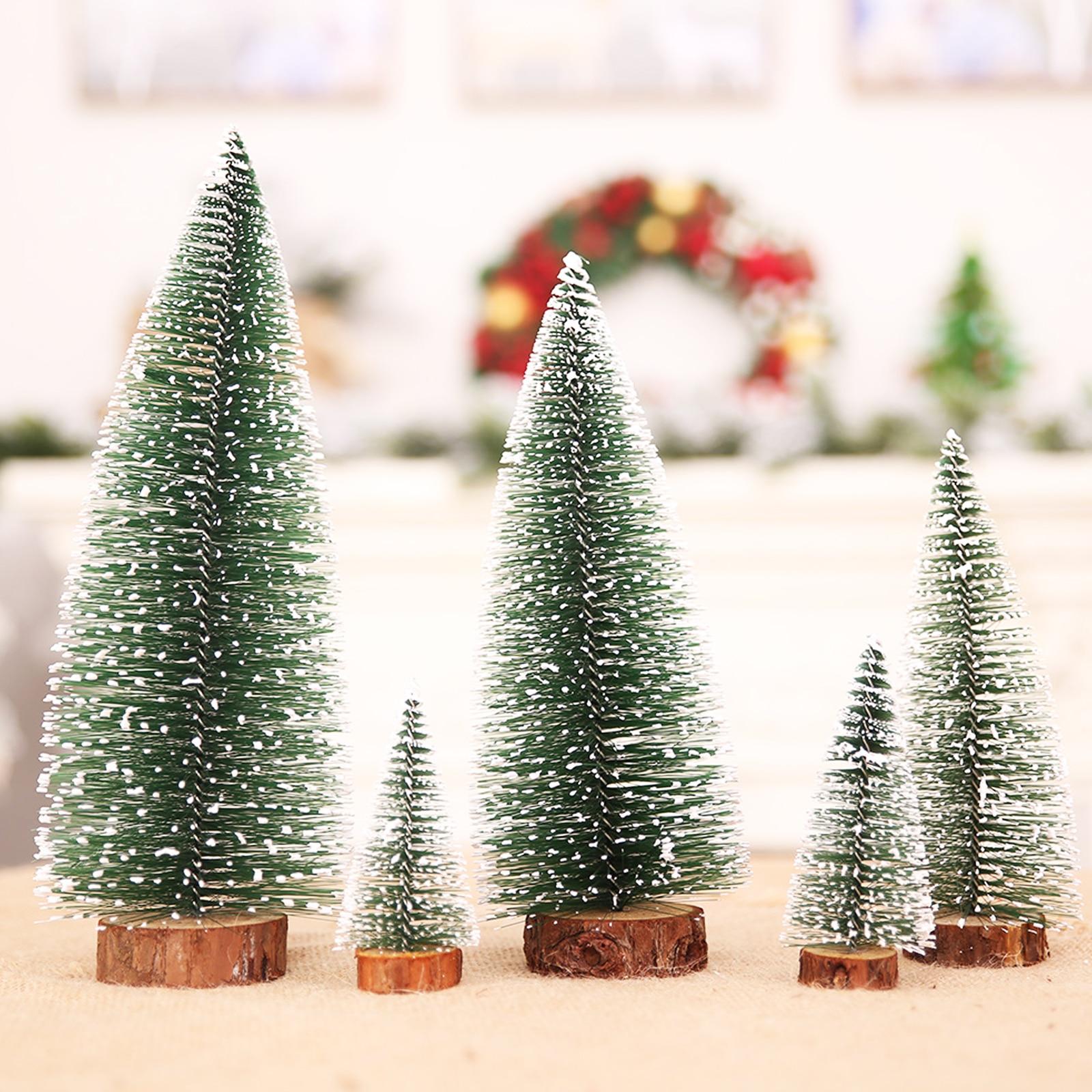 10cm,15cm,20cm,25cm,30cm Mini Snow Pine Needle Tree Bauble Crafts Noel Tree Ornaments Wooden Christmas Decorations for Home