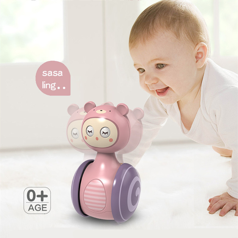 0-3Years Infant Tumbler Sliding Bell Rattle Baby Toys Cartoon Roly-poly Learning Education Toys for Kids Tumbler Mobile Bell Toy