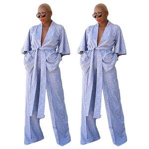 Лидер продаж, Женская однотонная Домашняя одежда, комплект из двух предметов, модная женская рубашка с глубоким вырезом и V-образным вырезом на шнуровке, комплект с широкими штанинами и высокой талией
