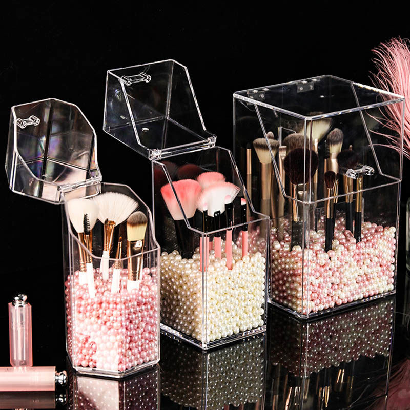 Makeup Brush Bucket Desk Organizer Pen Holder Portable Cosmetic Desktop Storage Box Dust-proof Covered Pearl Office Accessories
