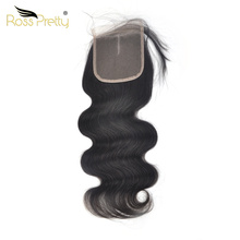 Ross Pretty Remy Human Hair Closure Pre Plucking Natural Brazilian Body Wave Lace Baby hair Middle and Free part/3 Part