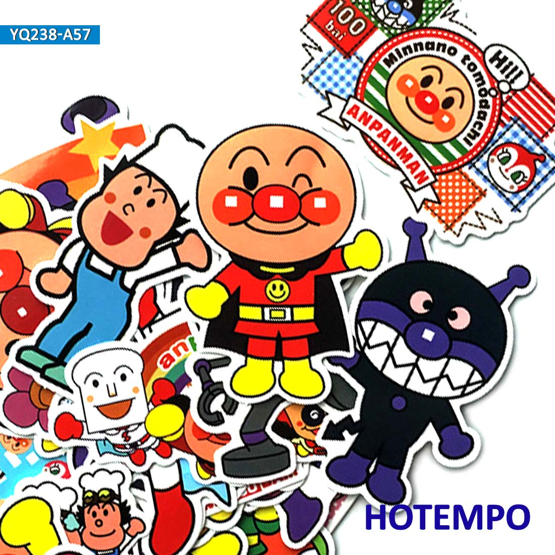 57pcs Kawaii Anime Anpanman Dokin-chan Baikinman Stickers For DIY Mobile Phone Laptop Luggage Suitcase Skateboard Decal Stickers