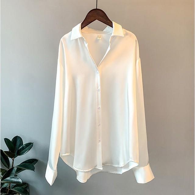 High Quality Elegant Imitation Silk Blouse Spring Women Fashion Long Sleeves Satin Blouse Vintage Femme Stand Street Shirts 5