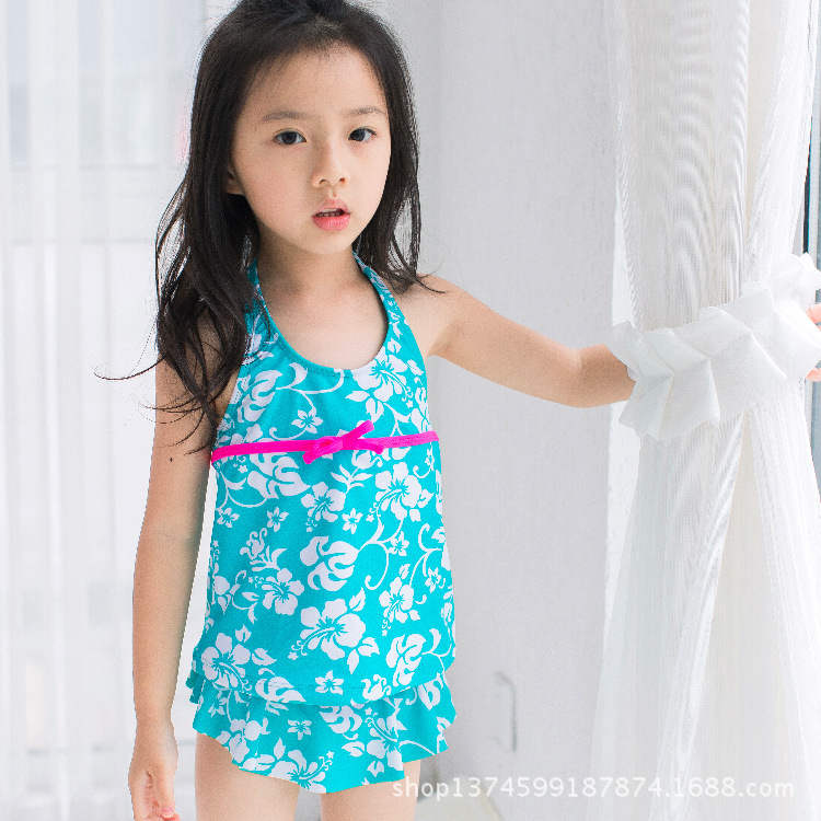 KID'S Swimwear Girls Flounced Two-piece Swimsuits Young Child Fashion Camisole Acid Blue Flowers Of The Sun-resistant Baby GIRL'