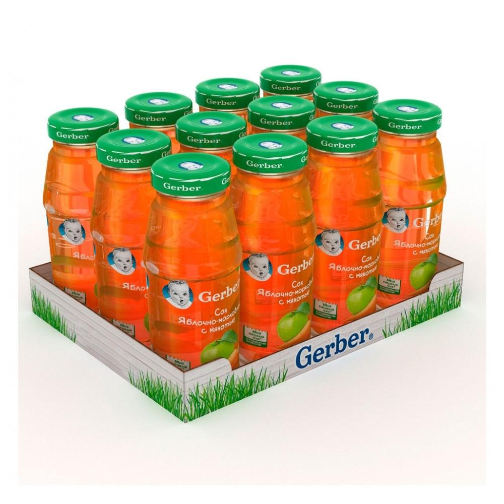 Сок Gerber Яблочно-Морковный с мякотью с 5 мес 175 мл(12 шт