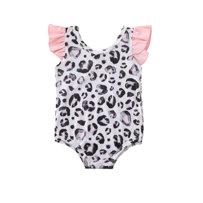 1-5Years Leopard Ruffle Bikini For Toddler Kids Baby Girls Swimwear One Piece Beachwear