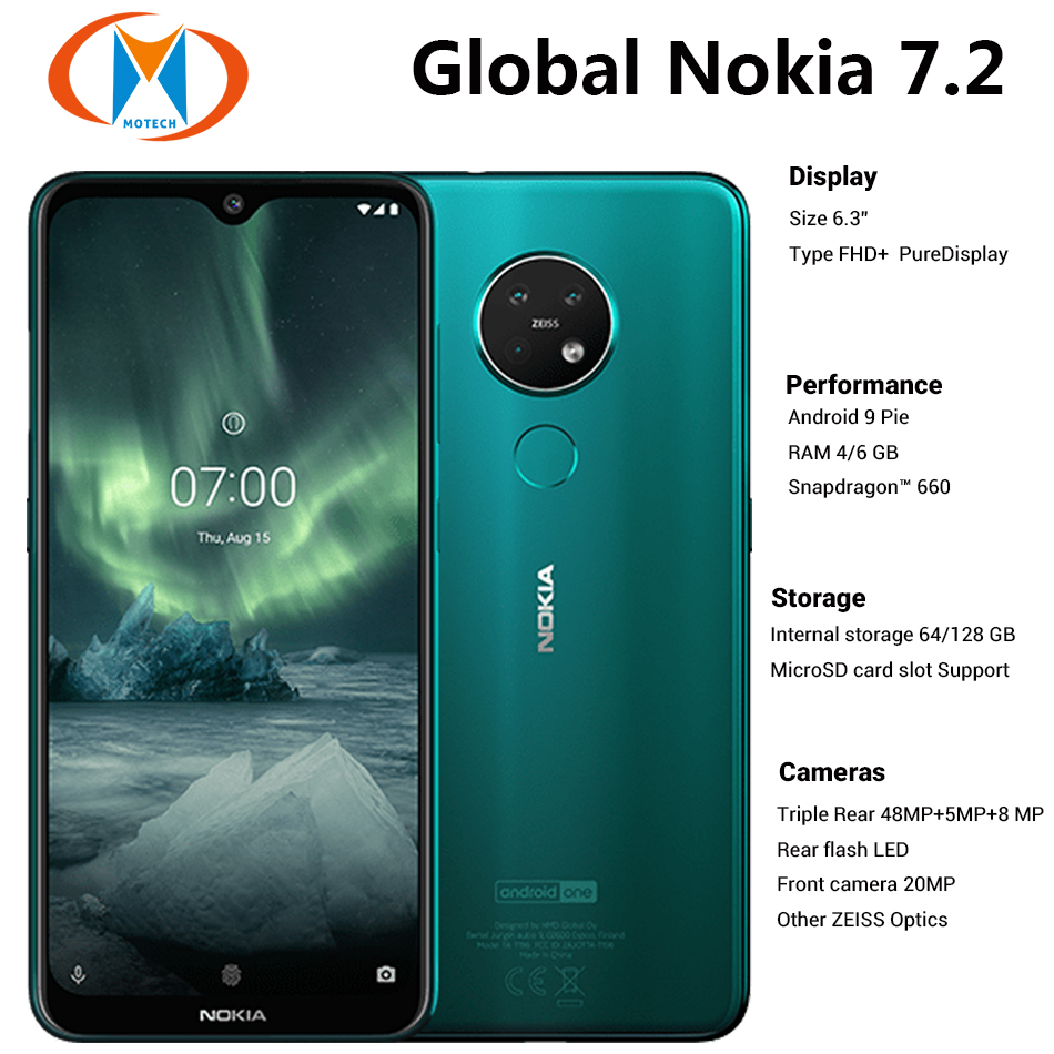 International Version Nokia 7.2 6GB 128GB Mobile Phone TA-1196 Dual SIM 6.3