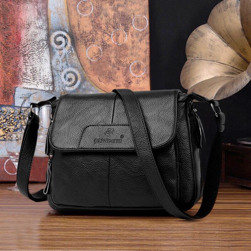 Genuine Leather Bag Women Shoulder Bags 2020 Womens Black Handbag Luxury Famous Brand High Quality Leather Bag Pockets Crossbody