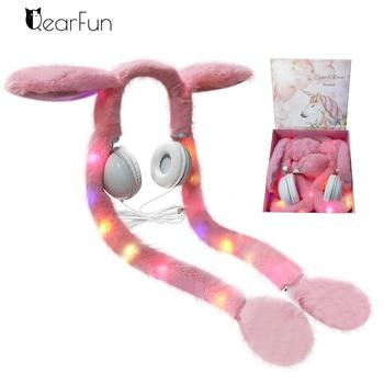 Colorful Cute Rabbit Wired Kids Headphones Girl Stereo Music Helmet Phone Gamer Headset Unicorn Bracelet Birthday Christmas Gift