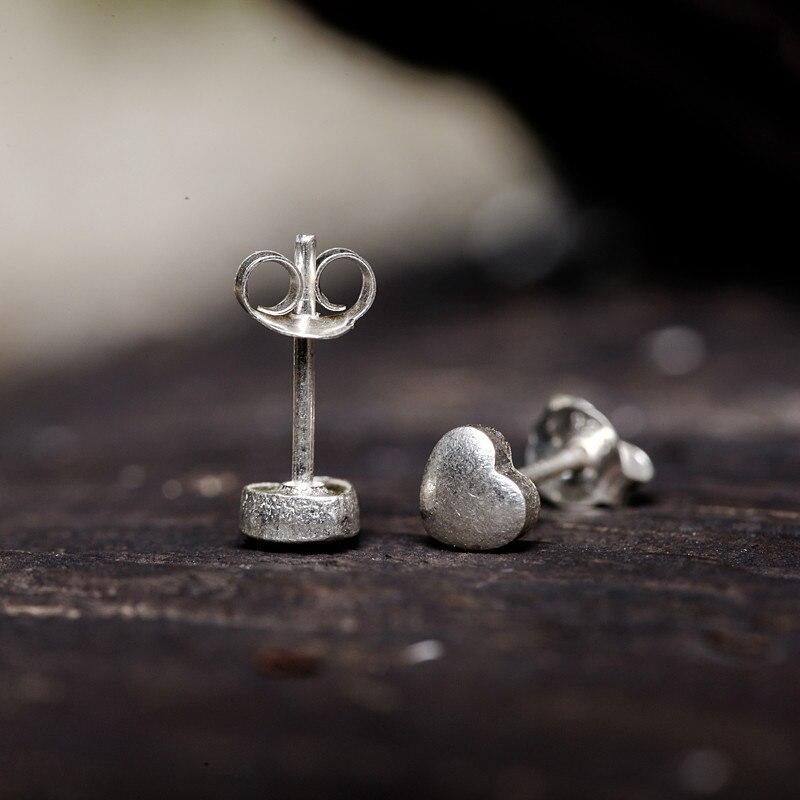 Fyla Mode 100% 925 argent Sterling Petite plaine amour coeur boucles d'oreilles pour les femmes argent petites boucles d'oreilles bijoux fins brincos