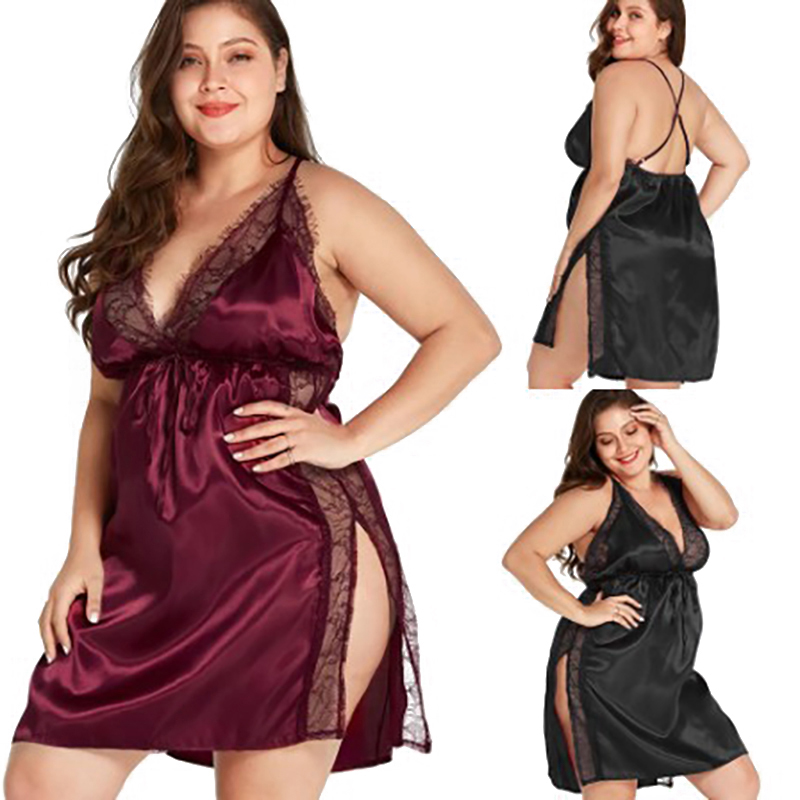 Plus Size Women's One-piece Pajamas Sets Sexy Satin Nightgown Sleepwear Lace Sleeveless Lingerie V Neck Nightshirt Size S-5XL