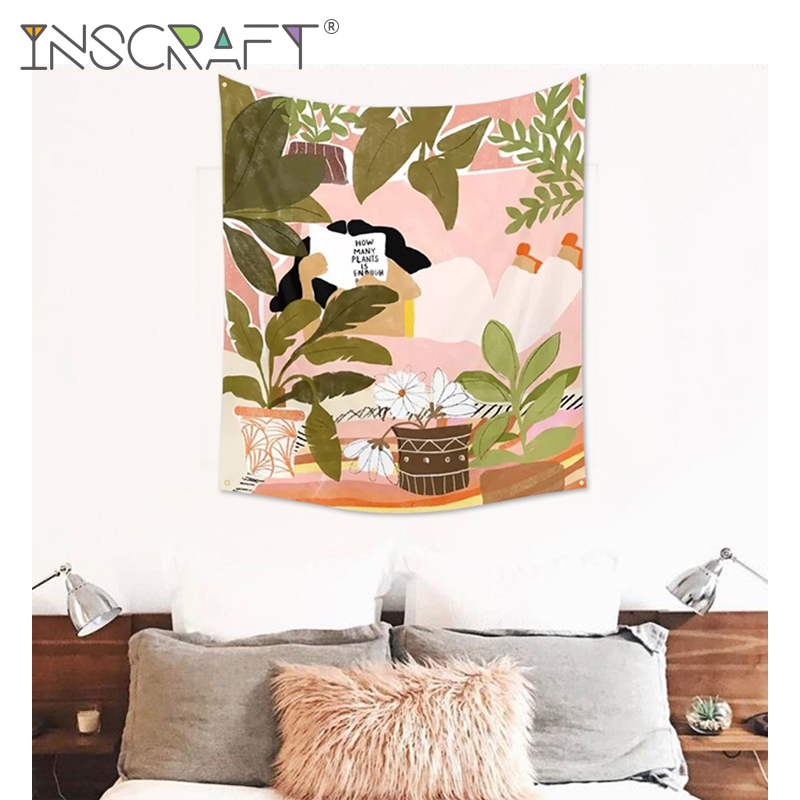Hand Drawing Illustration Wall Hanging Tapestry Home Tapestries Decorations For Living Room Bedroom Dorm Decor