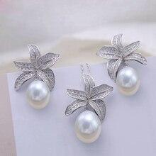 MeiBaPJ, настоящее 925 пробы, серебряная Морская звезда, Модный Ювелирный Набор, натуральный жемчуг, подвеска, серьги, свадебные ювелирные изделия для женщин